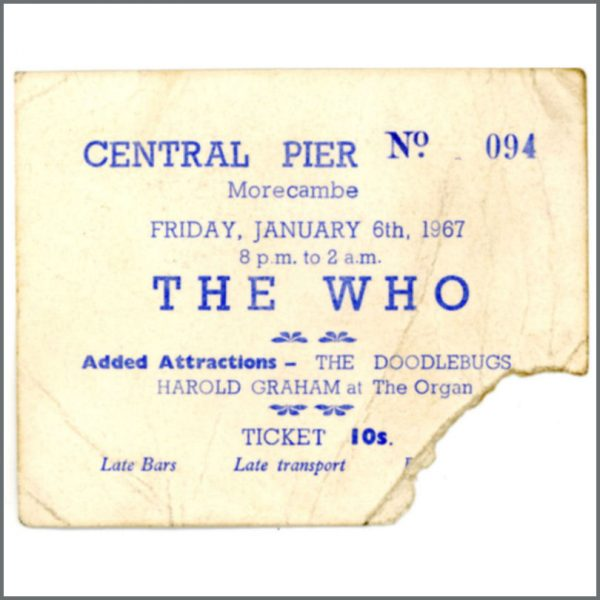 001643 - The Who Concert Ticket Central Pier Morcambe 6th January 1967