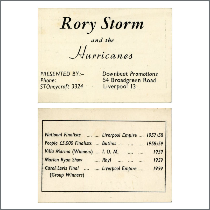 B23615 rory storm the hurricanes 19591960 business card uk b23615 rory storm the hurricanes 19591960 business card uk reheart Image collections