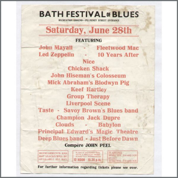B10541 – Led Zeppelin Bath Festival Handbill 1969 (UK) 1