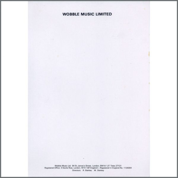 B10595 - Ringo Starr Wobble Music Limited Notepaper (UK)