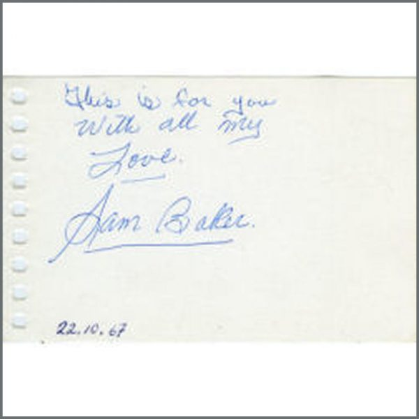 B18919 - Sam Baker Signature Autograph 1967 (Sweden)