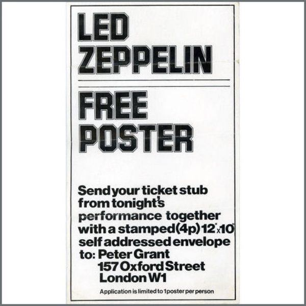 B20446 - Led Zeppelin 1973 Free Poster Handbill / Flyer (UK)