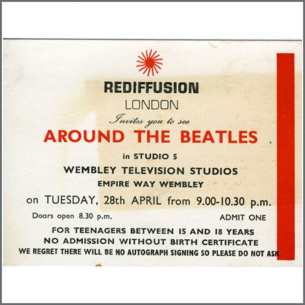 B20571 - Rediffusion London Around The Beatles TV Special Complete Ticket April 1964 (UK)