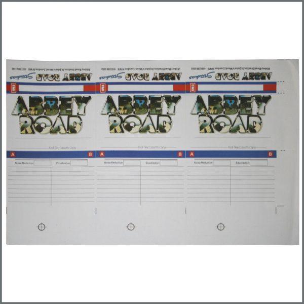 B20942 - Abbey Road 1980s Studios Cassette Copy Sheet (UK)