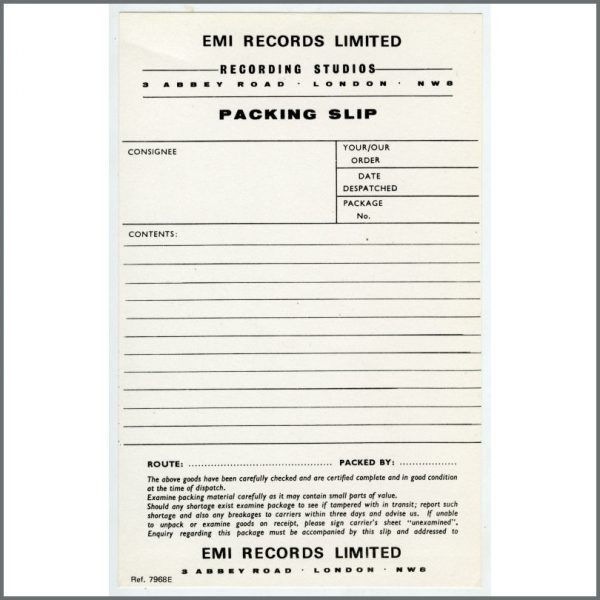 B20944 - Abbey Road Studios/EMI Records Packing Slip
