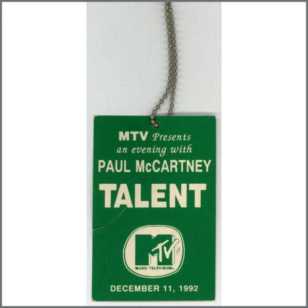 B21334 - Paul McCartney MTV Talent Guest Pass (USA)