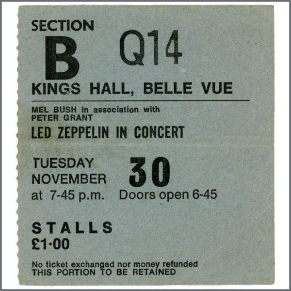 B21890 - Led Zeppelin 1971 Kings Hall Belle Vue Concert Ticket Stub (UK)