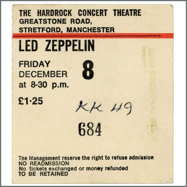 B22012 - Led Zeppelin Hard Rock Theatre 1972 Concert Ticket Stub (UK)