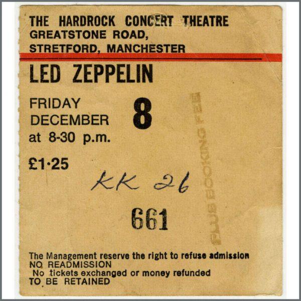 B22191 - Led Zeppelin 1972 Hard Rock Theatre Concert Ticket Stub (UK)