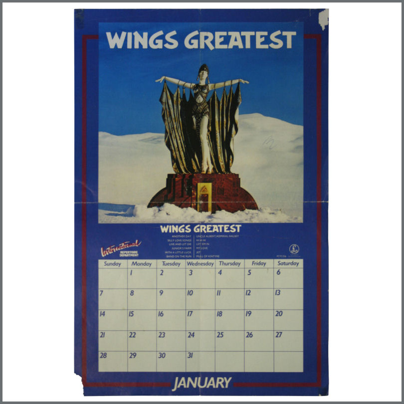 B22234 Wings Greatest January 1979 Calendar Poster Uk Tracks
