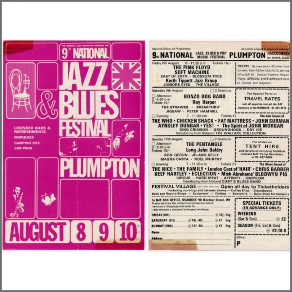 B22553 - Pink Floyd 1969 Jazz Blues Festival Handbill (UK)