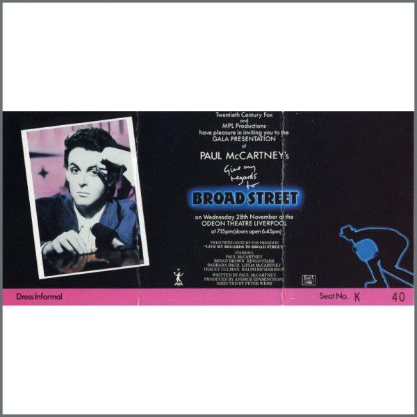 B22597 - Paul McCartney Give My Regards To Broad Street Gala Ticket (UK)