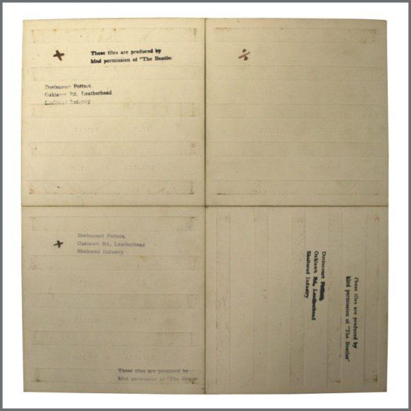 B22781 – The Beatles 1964 Dorincourt Ceramic Tiles (UK) 2