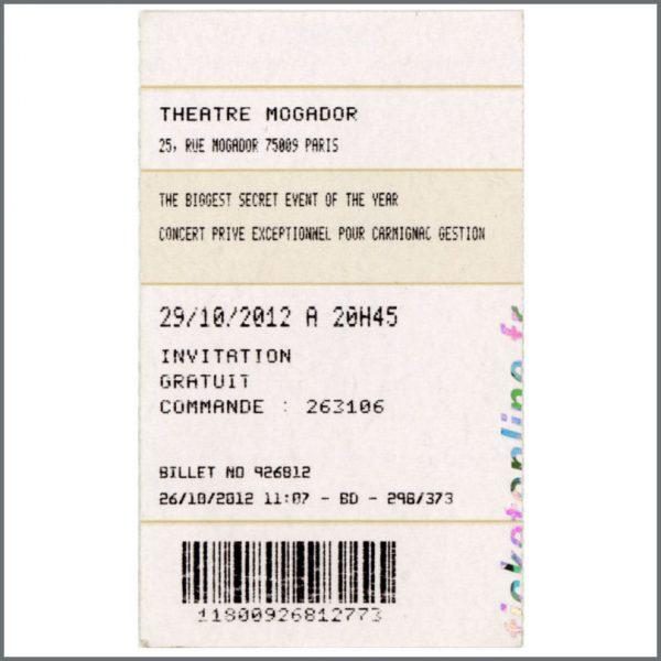 B23165 - Rolling Stones 2012 Secret Gig Concert Ticket Stub (France)