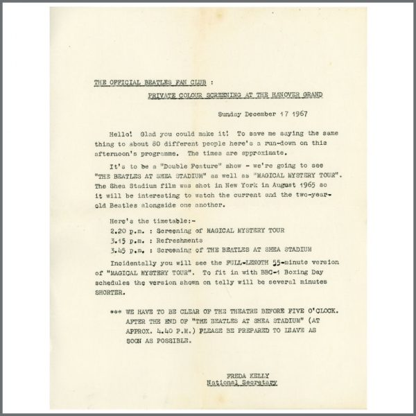 B23342 - The Beatles 1967 Magical Mystery Tour Itinerary Sheet (UK)
