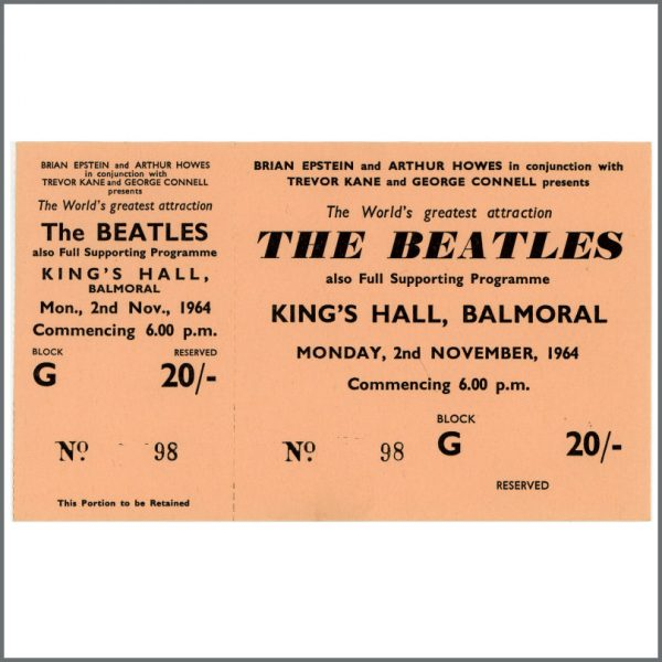 B23554 - The Beatles 1964 Balmoral King's Hall Unused Concert Ticket (UK)