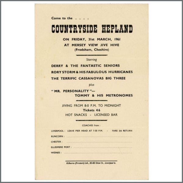 B23616 - Rory Storm & The Hurricanes 1961 Countryside Hepland Concert Handbill (UK)