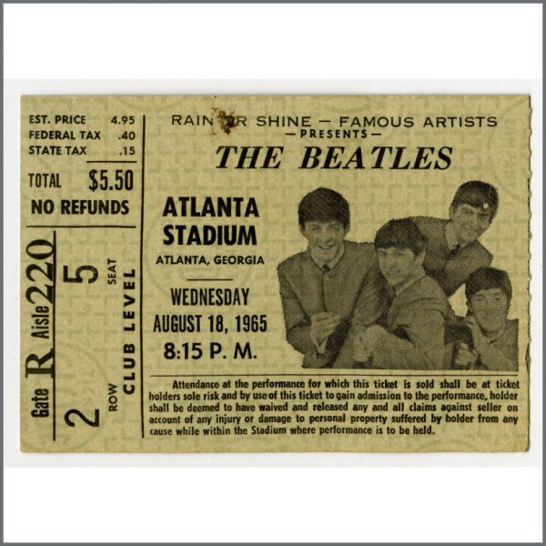 B23917 - The Beatles 1965 Atlanta Stadium Concert Ticket Stub (USA)