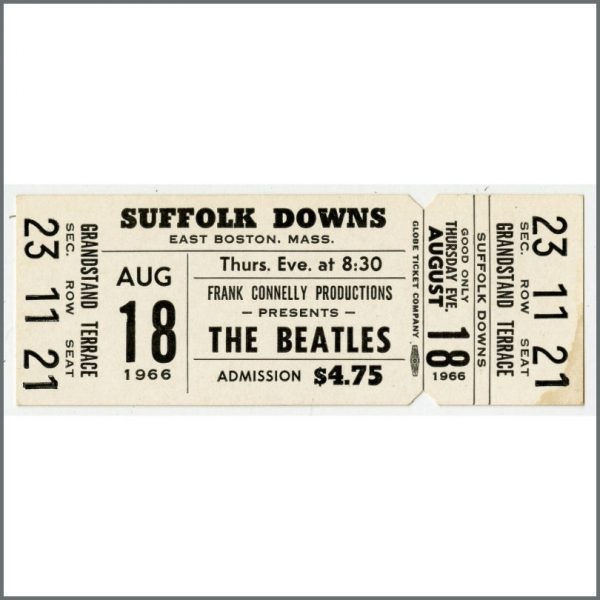 B23924 - The Beatles 1966 Boston Suffolk Downs Original Complete Unused Concert Ticket (USA)
