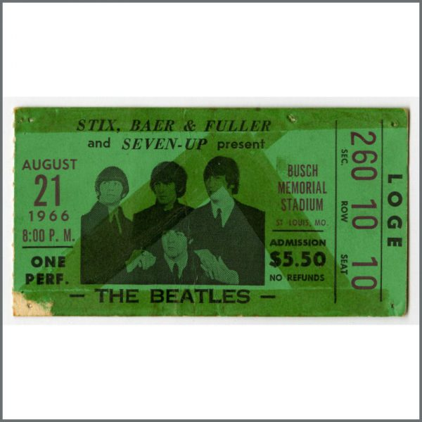 B23925 - The Beatles 1966 St. Louis Busch Memorial Stadium Concert Ticket Stub (USA)