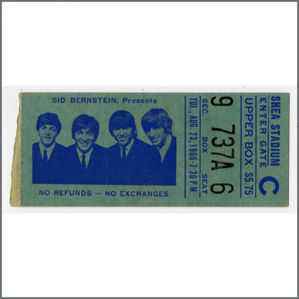 B23926 - The Beatles 1966 New York Shea Stadium Concert Ticket Stub (USA)