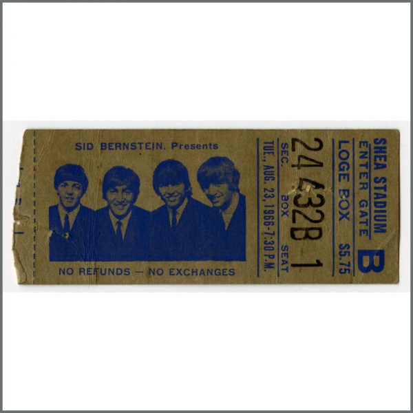B23927 - The Beatles 1966 New York Shea Stadium Concert Ticket Stub (USA)