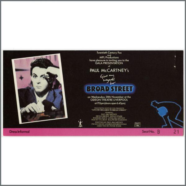 B24035 - Paul McCartney 1984 Give My Regards To Broad Street Premiere Ticket (UK)