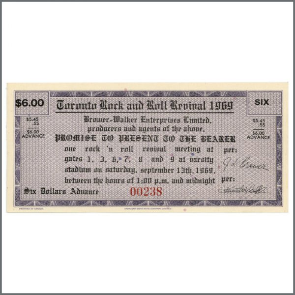 B24383 - John Lennon And The Plastic Ono Band Toronto Rock And Roll Revival Show Unused Ticket (Canada)