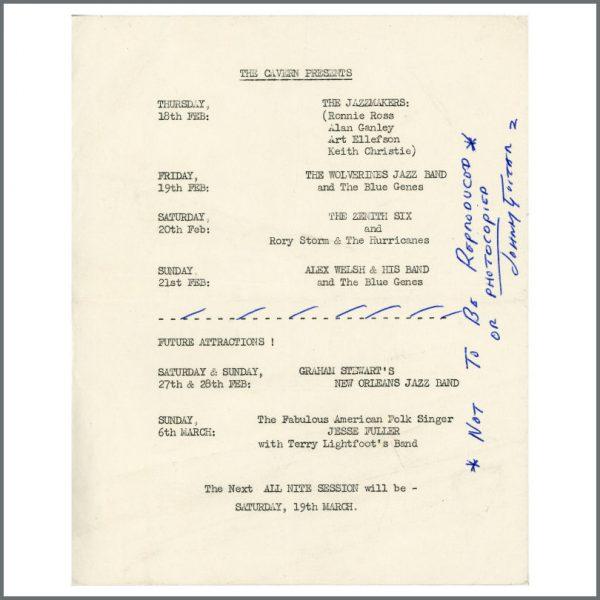 B24386 - Ringo Starr 1960 Rory Storm And The Hurricanes Cavern Club Handbill (UK)