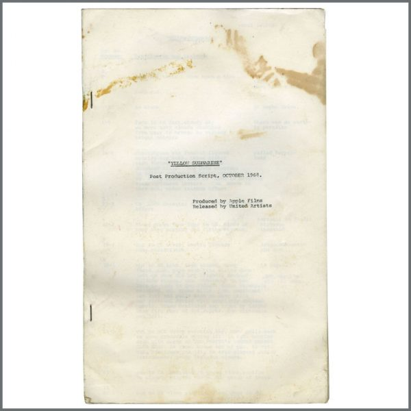 B24578 - The Beatles 1968 Yellow Submarine Post Production Script (UK)