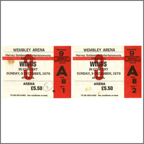 B24608 - Wings 1979 Wembley Arena Concert Ticket Stubs (UK)