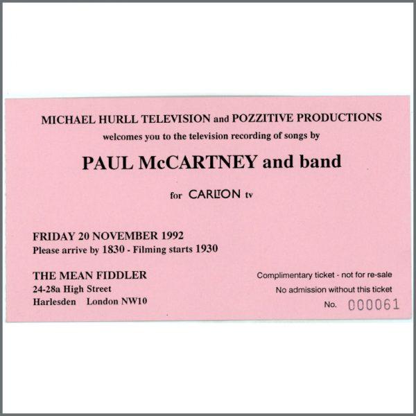 B24728 - Paul McCartney 1992 Mean Fiddler / Carlton TV Concert Ticket (UK)