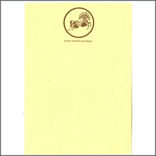 B24760 - George Harrison Dark Horse Records Notepaper (UK)