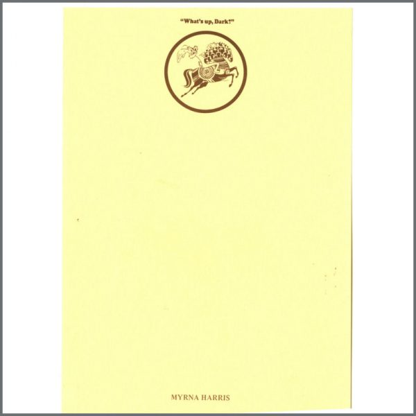 B24761 - George Harrison Dark Horse Records Notepaper (UK)