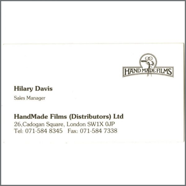 B24763 - George Harrison Handmade Films Business Card (UK)