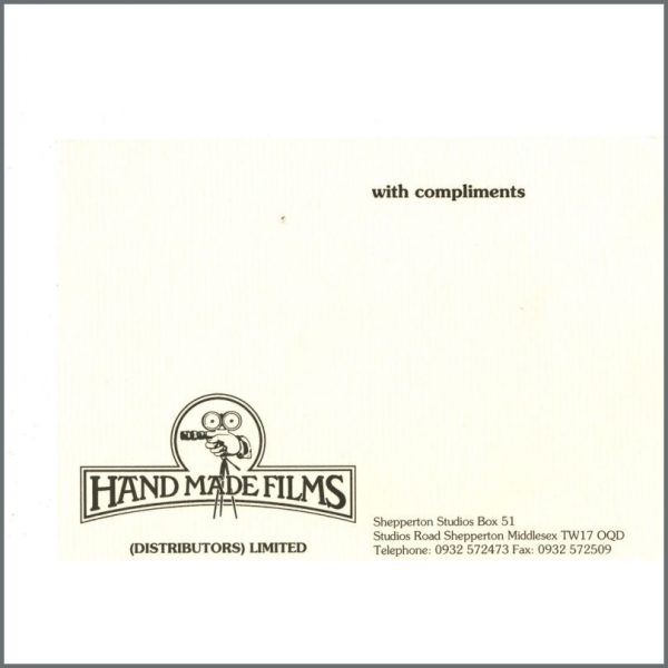B24766 - George Harrison Handmade Films Compliments Slip (UK)
