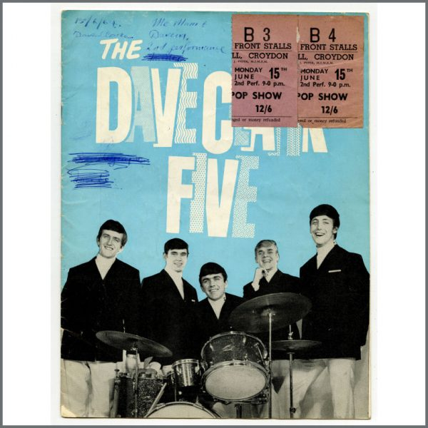 B24775 - The Dave Clark Five 1964 Tour Programme And Concert Ticket Stubs (UK)