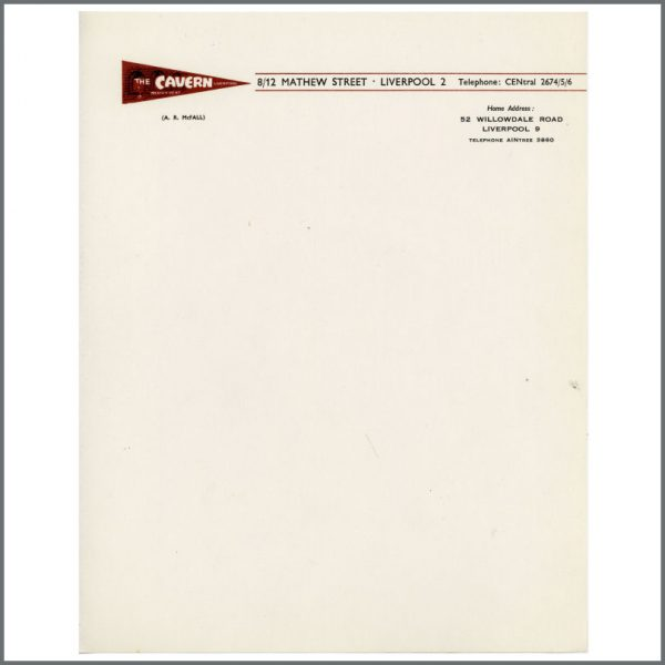 B24857 - Bob Wooler 1960s Cavern Club Letterhead (UK)