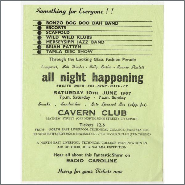 B24859 - Bob Wooler 1967 All Night Happening Cavern Club Handbill (UK)