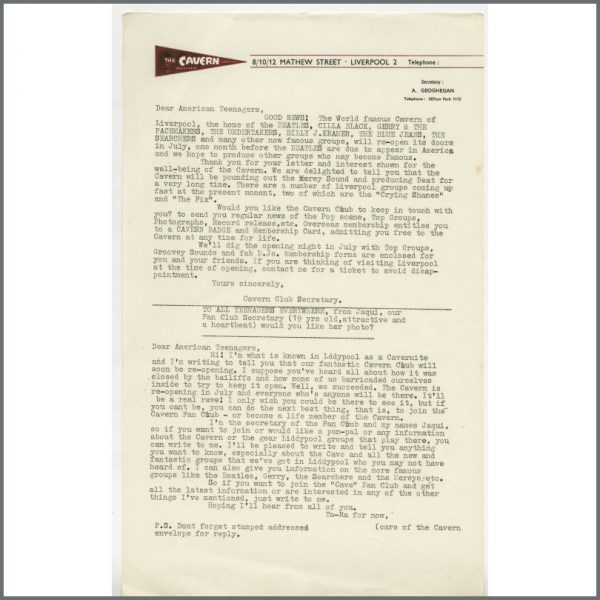 B24860 - Bob Wooler 1966 Cavern Club Newsletter To American Teenagers (UK)