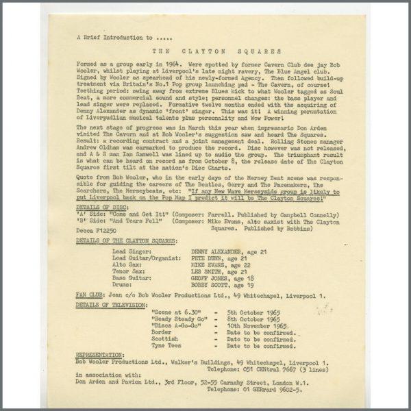 B24862 - Bob Wooler 1965 Clayton Squares Press Release (UK)