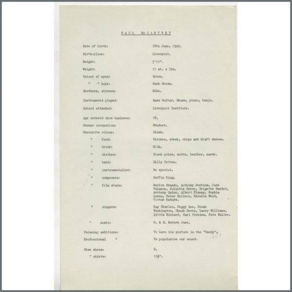 B24865 - Bob Wooler 1962 Paul McCartney Biography Sheet (UK)