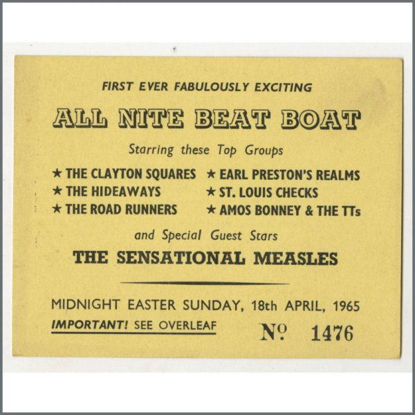 B24868 - Bob Wooler 1965 All Night Beat Boat Liverpool Concert Ticket (UK)