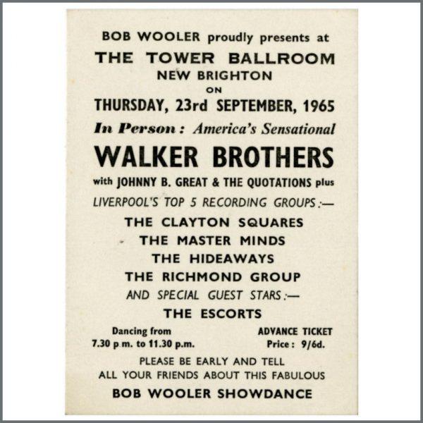 B24869 - Bob Wooler 1965 Walker Brothers Tower Ballroom Concert Ticket (UK)