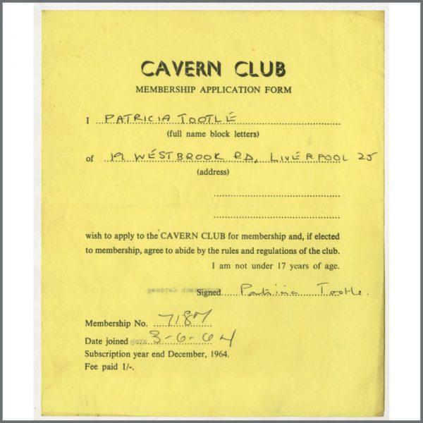 B24872 - Bob Wooler 1964 Cavern Club Membership Application Form (UK)