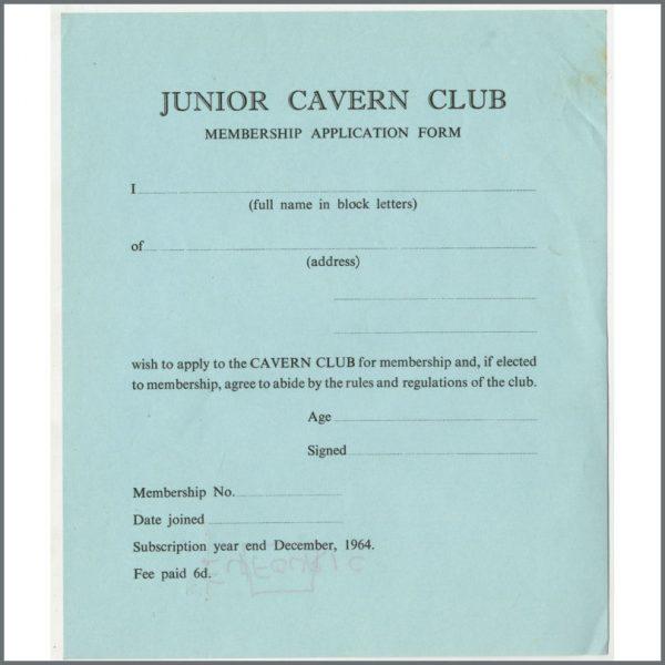 B24873 - Bob Wooler 1964 Cavern Club Unused Junior Membership Application Form (UK)