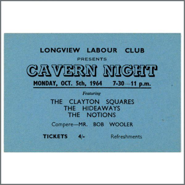 B24878 - Bob Wooler 1964 Cavern Night Longview Labour Club Concert Ticket (UK)