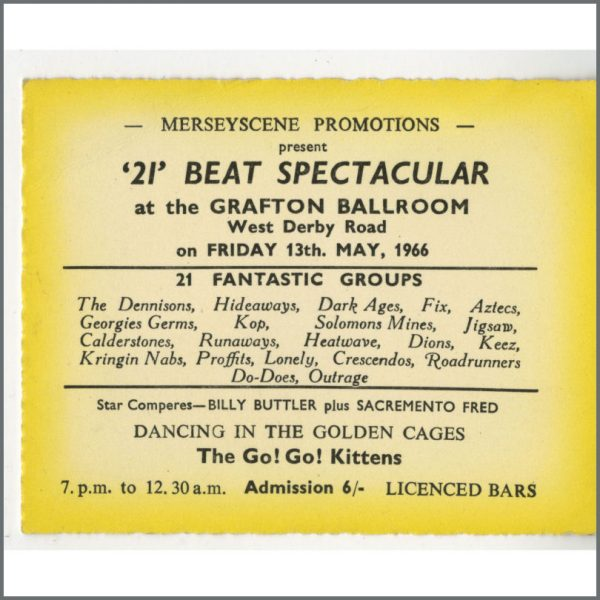 B24879 - Bob Wooler 1966 21 Beat Spectacular Grafton Ballroom Concert Ticket (UK)