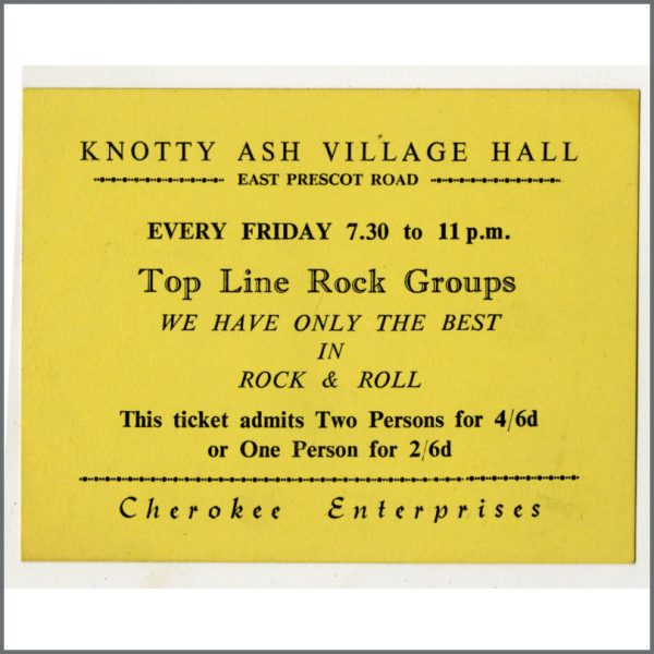 B24942 - Bob Wooler Early 1960s Knotty Ash Village Hall Generic Concert Ticket (UK)