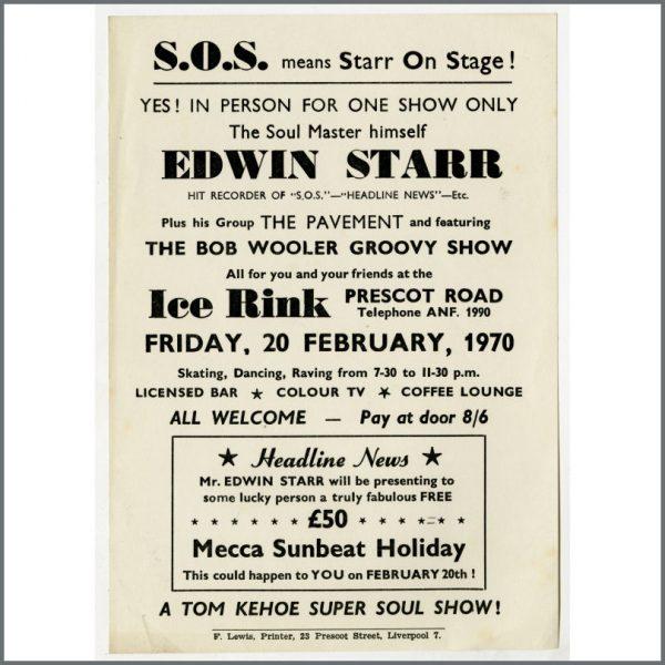 B24947 - Bob Wooler 1970 Edwin Starr Silver Blades Liverpool Concert Handbill (UK)